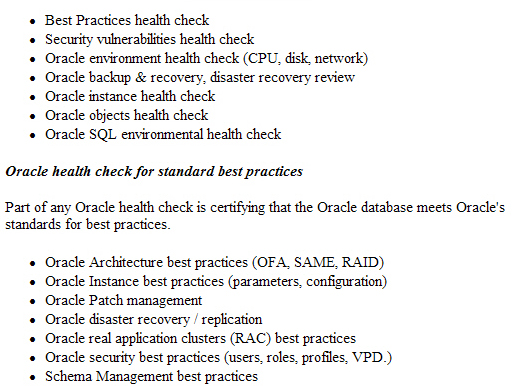 Oracle Health Check