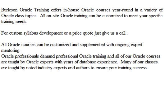 Oracle Certification classes