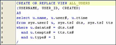 data dictionary views included in mysql database