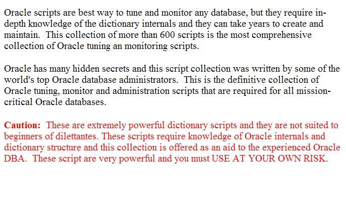 ORACLE DBA SCRIPTS PDF
