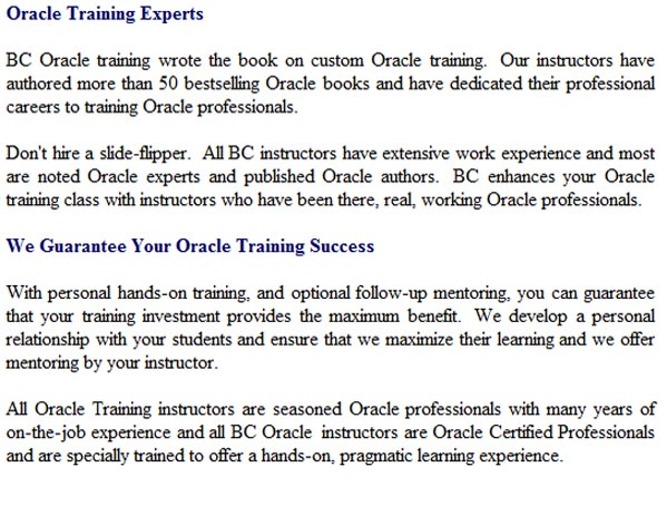 Oracle DBA Database Administration Training Course